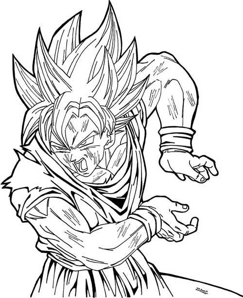 Excepcional 50 Desenhos do Goku para Colorir (Anime Dragon Ball Z) DH03