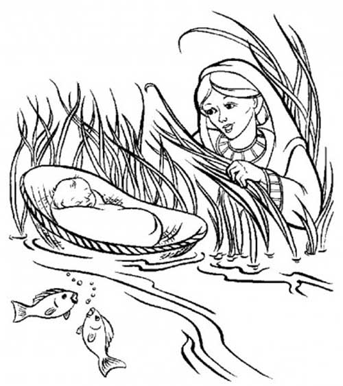 moses in bulrushes coloring pages - photo#28