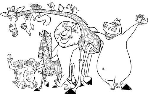 Desenho De Animais Do Zoológico Reunidos Para Colorir: 20 Desenhos Do Madagascar Para Imprimir E Colorir